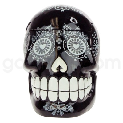 Ashtray Large Day of the Dead Skull - Black  (48/4/192)
