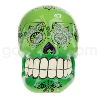 Ashtray Large Day of the Dead Skull - Green  (48/4/192)