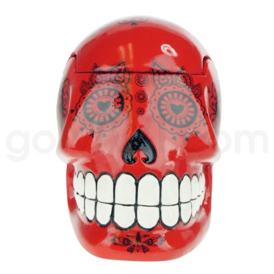 Ashtray Large Day of the Dead Skull - Red  (48/4/192)