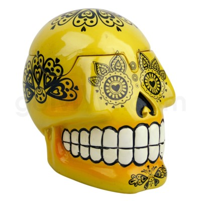 Ashtray Large Day of the Dead Skull - Yellow  (48/4/192)