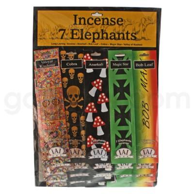7 Elephant Incense Board 20ct