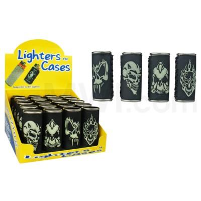 DISC Lighter Case Large GID Skulls 20/display