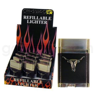 DISC Lighter Torch Leather Longhorn 12PC/BX 20/CS 240 Total
