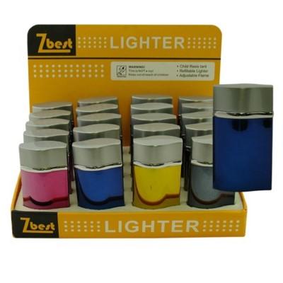 Lighter Flip Top Asst Colors Green Flame 20PC/BX 12/CS 240 T