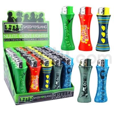 DISC Sassy Slang Curve Lighters 50CT/BX 10/cs
