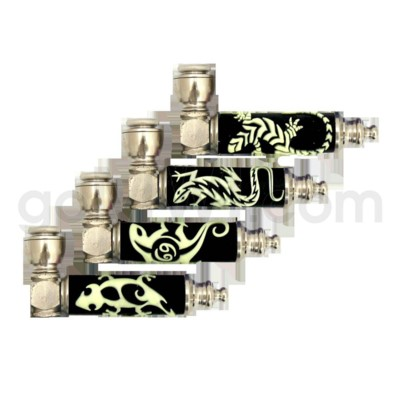 DISC Pipe Metal w/ Glow in The Dark Lizard Embeded 24 per bo