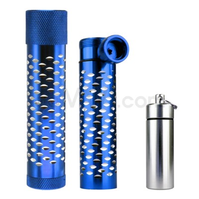 Metal Hand Pipe Steamroller w/ container diamond cut BLUE