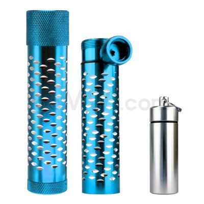 Metal Hand Pipe Steamroller w/container diamond cut Turquois