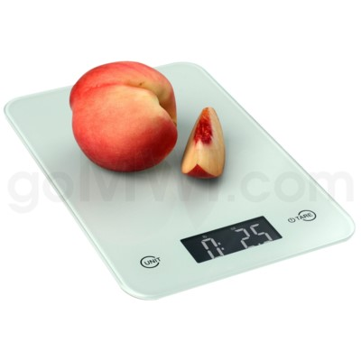AWS 11 lbs x 0.1oz Kitchen Glass Scales - White