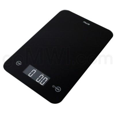 AWS 11 lbs 0.1oz Kitchen Glass Scales- Black