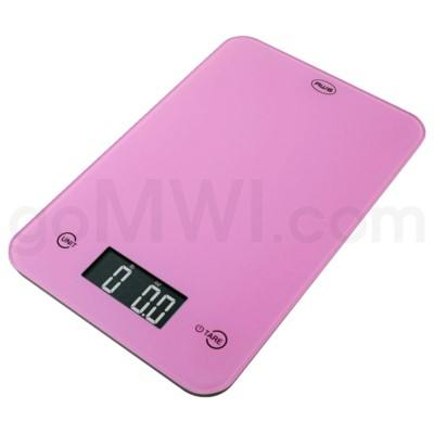 AWS 11 lbs x 0.1oz Kitchen Glass Scales - Pink