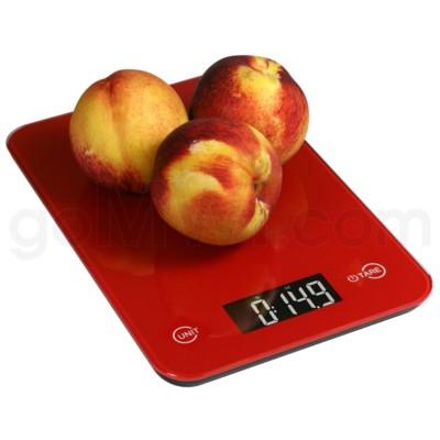 AWS 11 lbs x 0.1oz Kitchen Glass Scales - Red