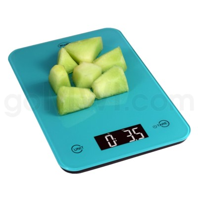AWS 11 lbs x 0.1oz Kitchen Glass Scales - Turquoise