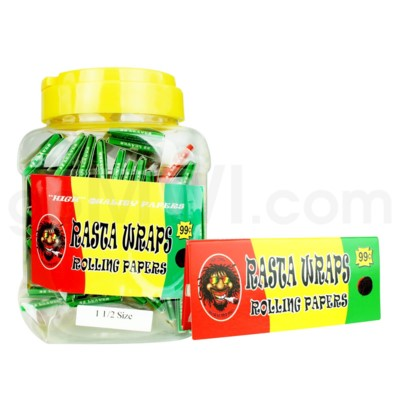 DISC Rasta Wraps Papers in Bottle 32/pk 50ct/bx 120/cs