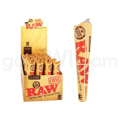 Raw Classic King Size Pre Rolled Cones 3/pk 32ct/bx