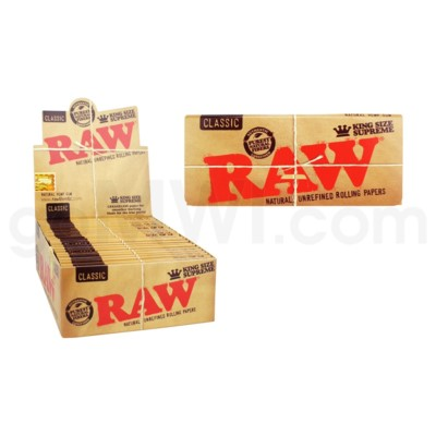 Raw Classic King Size Supreme Rolling Papers 40/pk 24ct/bx