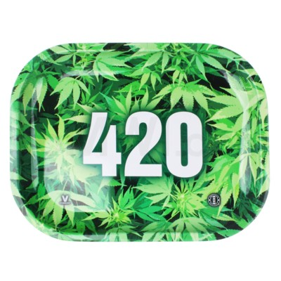 V Syndicate 5x7in Mini Rolling Tray- 420 Green