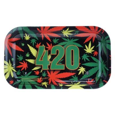 V Syndicate 11x7in Medium Rolling Tray- 420 Rasta