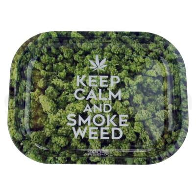Smoke Arsenal 11x7in Medium Rolling Tray-Keep Calm