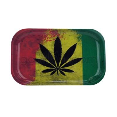 V Syndicate 11x7in Medium Rolling Tray-Rasta Leaf