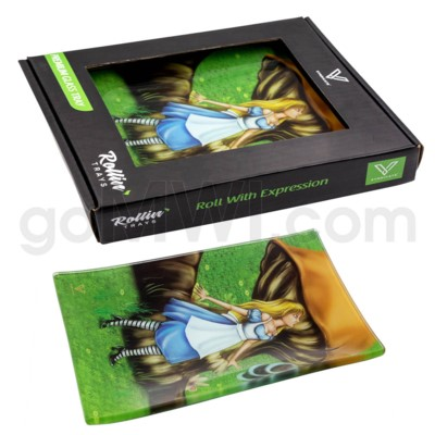 V Syndicate 5x7in Small Glass Rolling Tray-  Alice