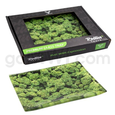 V Syndicate 5x7in Small Glass Rolling Tray-  Buds