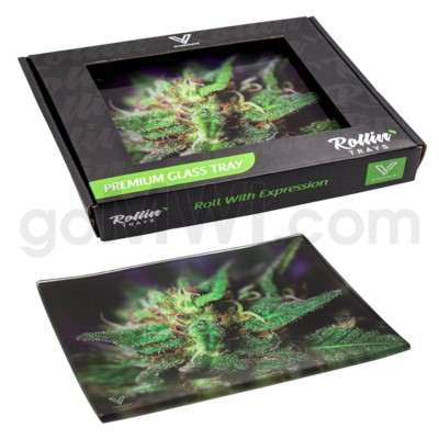 V Syndicate 5x7in Small Glass Rolling Tray-  Blue Dream
