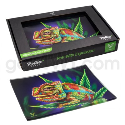 V Syndicate 5x7in Small Glass Rolling Tray- Cloud 9 Chameleon