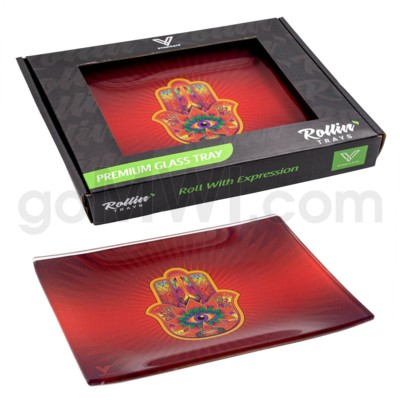 V Syndicate 5x7in Small Glass Rolling Tray- Hamsa Red