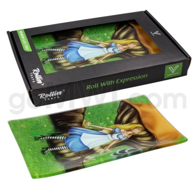 V Syndicate 10x7in Medium Glass Rolling Tray- Alice