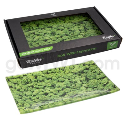 V Syndicate 10x7in Medium Glass Rolling Tray- Buds