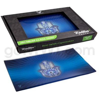 V Syndicate 10x7in Med Glass Rolling Tray- Hamsa Blue