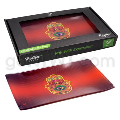V Syndicate 10x7in Med Glass Rolling Tray- Hamsa Red