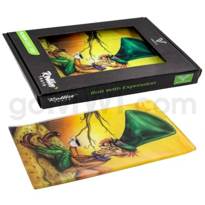 V Syndicate 10x7in Med Glass Rolling Tray- Mad Hatter