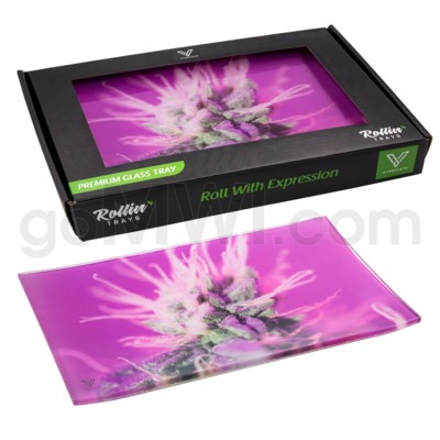 V Syndicate 10x7in Medium Glass Rolling Tray- Pink Lemonade