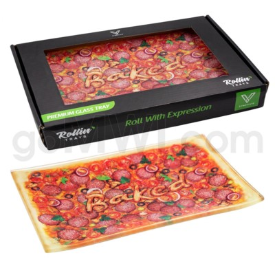 V Syndicate 10x7in Medium Glass Rolling Tray- Pizza
