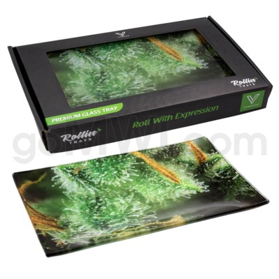 V Syndicate 10x7in Medium Glass Rolling Tray- Trichome Jungle