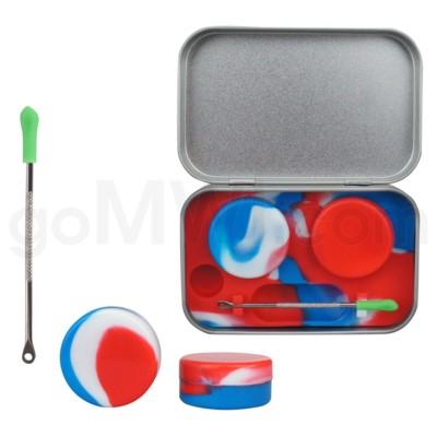 Silicone Tin Kit Set Red White Blue Swirls