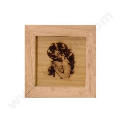 DISC Pine wood box w/silk and mirror Naked lady 4