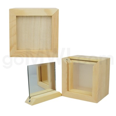 DISC Pine wood box w/silk and mirror 4