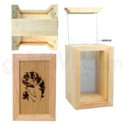Pine wood box w/silk and mirror Naked lady 4