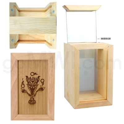 Pine wood box w/silk and mirror Devil 4