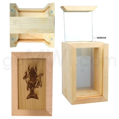Pine wood box   w/silk and mirror Devil 2. 4