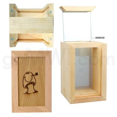 Pine wood box  w/silk and mirror Mushroom 4