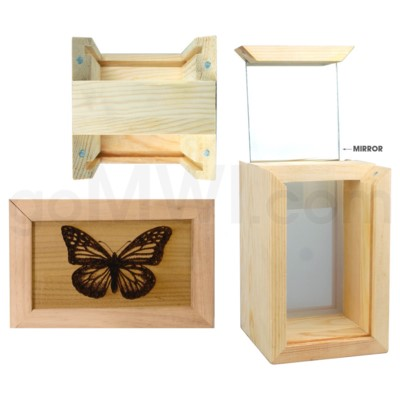 Pine wood box w/silk and mirror butterfly 4