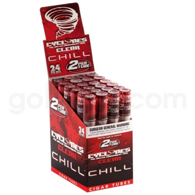 Cyclones Clear Pre-Rolled Cones- Chill Red 2pk 24ct/bx