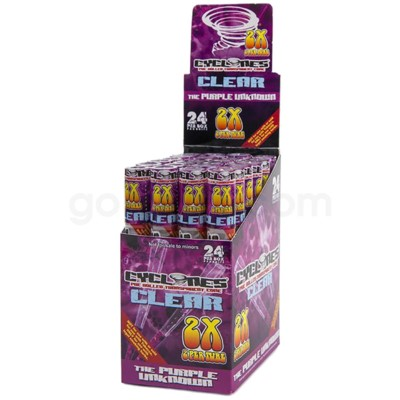 Cyclones Clear Pre-Rolled Cones- Purple Unknown 2pk 24ct/bx