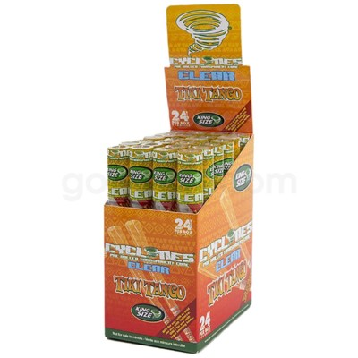 Cyclones Clear Pre-Rolled Cones- Tiki Tango 2pk 24ct/bx