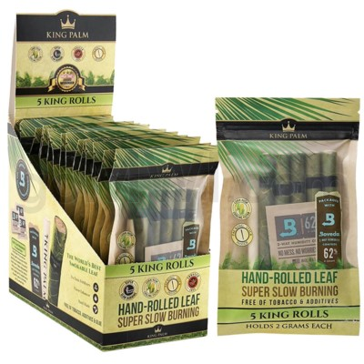 King Palm Herbal Organic King Pre-Rolled Wraps 5/pk 15ct/bx
