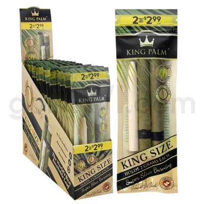 King Palm Herbal Organic King Pre-Rolled Wraps 2/pk 20ct/bx